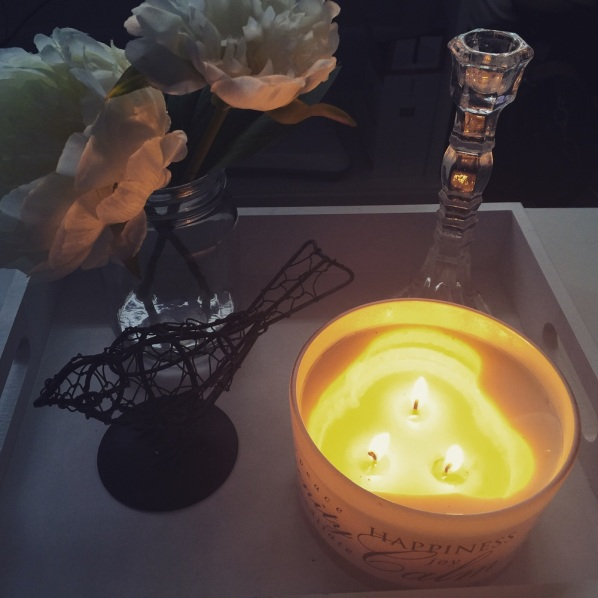 I took this a few weeks back of the flower in jar and candle